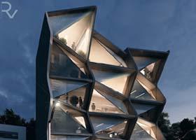 不规则外形的概念办公大厦设计