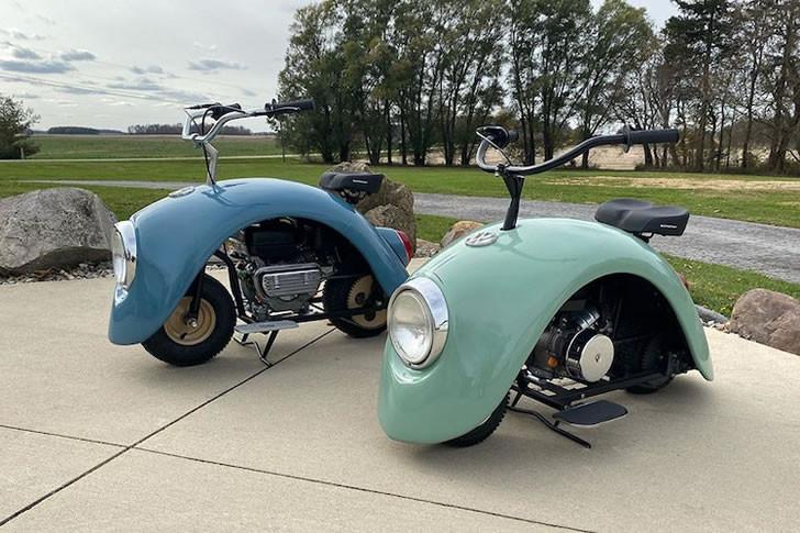 老式大众甲壳虫改装成可爱的迷你摩托车